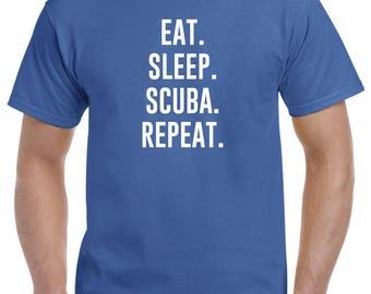 Eat Sleep Scuba Repeat Scuba Daving Shirt Scuba Diver Gift