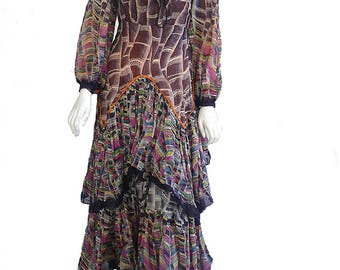 Vintage 60s70s Flamenco Dress Abstract print Tiered Ruffles Flounce Small One of-A-Kind gypsy