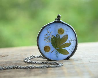 unusual flowers necklace, glass jewelry, large bohemian necklace, romantic gift, necklace dried flowers