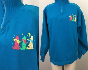 Vintage 90s Blue COYOTE Dogs Wolf Sweatshirt w/ Zip Neck M