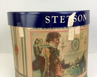 Vintage STETSON Hat Box Mallory Hats Victorian Image 20s 30s