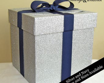Silver Glittered Card Box with Navy Ribbon-Choose Your Colors and Size