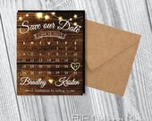 Rustic Spark Save the Date, calendar magnet, wood, rustic wedding, personalized, faux gold, save the date magnet, save the dates + Envelopes