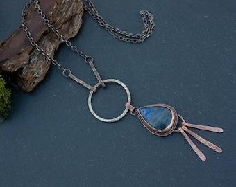 Copper necklace: Labradorite pendant - Long pendant necklace - Elven necklace - Long chain necklace - Rustic copper necklace