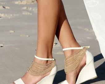 Ladies Ivory Wedges Heels Bridal Comfortable Wedding Shoes