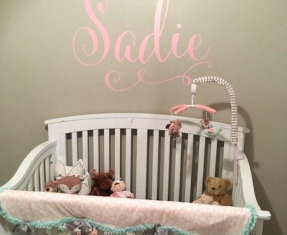 Swirly Name Wall Decal Baby Girl Nursery Wall Decal Girls - Wall decals baby girl