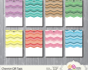 DIY Printable Gift Tags, Labels - 300dpi, jpg - Chevron, 3x4 in,  Instant Download