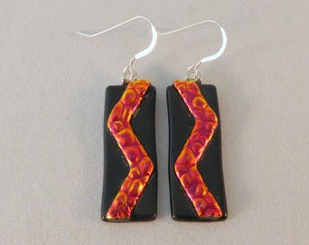Red Orange and Black Earrings, Fused Glass, Glass Earrings, Dangle Earrings, Fused Glass Earrings, Dichroic Earrings, Dichroic, Zigzag