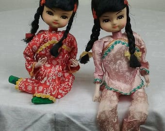 Set of 2 Vintage Big Eyes Oriental Sitting Cloth Pose Dolls Japan Asian