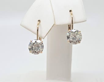 1.50ctw White Moissanite Diamond 14kt Yellow Gold Lever back Earrings