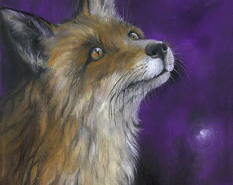 Red fox and firefly, canine art, wildlife, nature, illustration, fantasy, fairytale, original oil painting on canvas