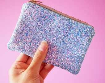 Light Blue Glitter Coin Purse, Sparkly Blue Coin Purse, Blue Glitter Zipped Pouch, Pastel Blue Coin Purse, Glittery Money Purse,