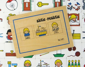 Aktie Reaktie - Action Reaction - Vintage Dutch Educational Kids Tile Matching Game - Wood Box Complete Set Illustrated Square Plastic Tiles