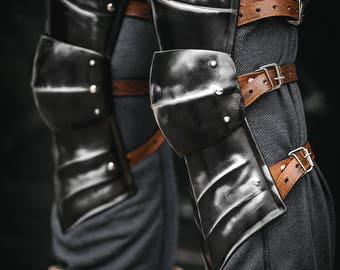 Guts Armor from Berserk Replica - Pair of Blackened Berserk Knees - LARP Berserk Armor - Steel Leg ARMOR handcrafted custom made