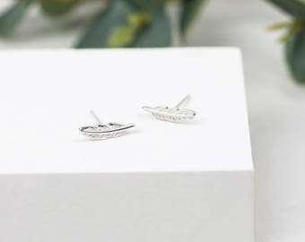 Sterling Silver Feather Earrings • Sterling Silver Studs • Dainty Silver Studs • Silver Feather Studs • Feather Jewellery • Bridesmaids Gift