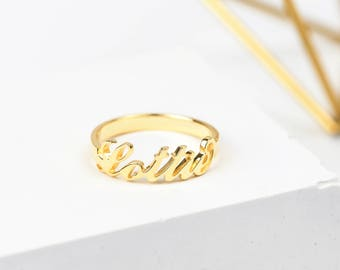Gold Name Ring • Personalised Name Ring • Custom Name Ring • Personalised Ring • Gift for her • Personalized Jewelry • Name Jewellery