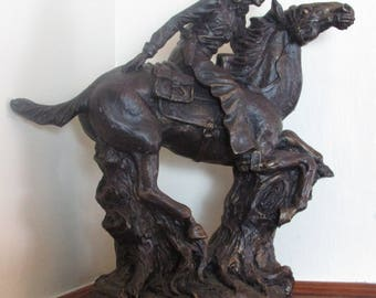 Statue of Vintage Pony Express Rider , Cowboy on a Horse Made of  Heavey Plaster Nice !