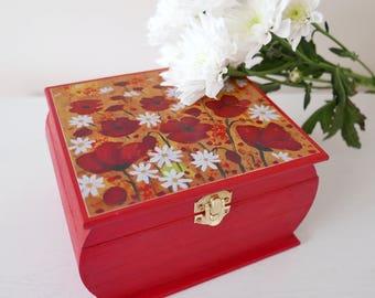 Poppy Jewellery Box, Jewellery Storage, Red Trinket Box, Storage Box with Poppy Art Print, Red Storage Box, Red Flowers Decorative Box