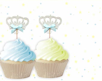 Prince Crown Cupcake Toppers - Crown Cupcake Toppers, Birthday Cupcake Topper, First Birthday Cupcake Toppers, Little Prince Birthday