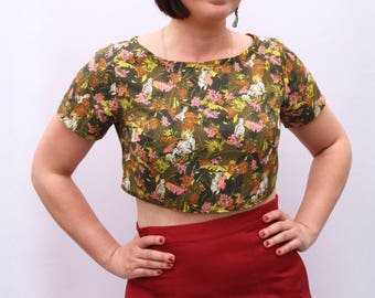 UK size 10-12 Parrot Print Cropped Top bird printl cotton crop tee handmade by The Emperor's Old Clothes