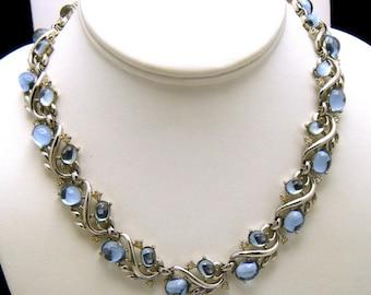 Crown Trifari Jewels of Fantasy Necklace Silver Tone Blue Mirrored Cabochons Rhinestones