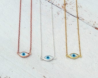 Tiny Evil Eye Necklace White Evil Eye Necklace Turquoise Evil Eye Pendant Silver Evil Eye Necklace Layered necklace Everyday jewelry