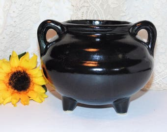 Roseville Black Cauldron, Jardinere, Flower Pot, Bewitching Planter, Witches Kettle Candy Dish, Roseville Pottery, Robinson Ransbottom