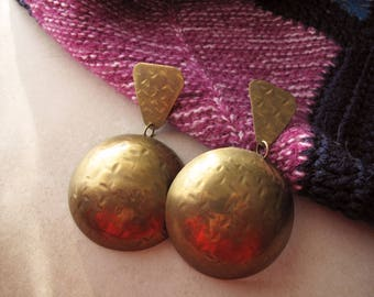 Vintage Large African Style Earrings, Textured Geometric Brass Post Earrings