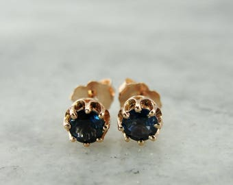 Rose Gold Sapphire Stud Earrings, September Birthstone PRMV7W-R