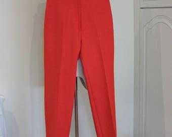 """70s BRIGHT RED - Wide Leg - High Waist Trousers  -27 1/2"""" Waist"""