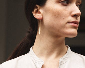 Bar Drop Earrings - Dainty Simple Gold Filled Earring, Sterling Silver or Rose Gold Fill LE439