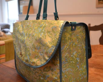 Gorgeous vintage 1950s blue green floral brocade overnight weekend travel bag