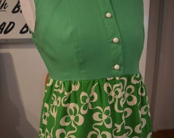 Vintage 1950s handmade green white cotton maxi dress lace collar S small