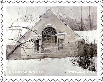 10 Rustic Winter Cottage Forever Stamps // Andrew Wyeth Painting / Rustic White Forest House Postage for Mailing Wedding Invitations & Cards