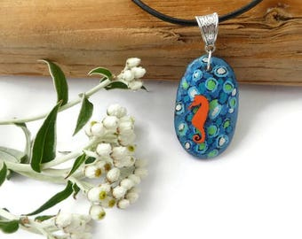 Seahorse Necklace - Seahorse Jewelry - Seahorse Painting - Seahorse Pendant - Pebble Painting - Hand Painted Jewelry - Pebble Art - Art Gift