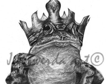 Pencil Drawing Print - The Frog Prince - Day 171