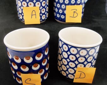 Boleslawiec Polish Pottery Coffee Mug Choice Assorted Cobalt Blue Brown Fish Eyes Dots Circles Hand Made Poland European Art Pottery