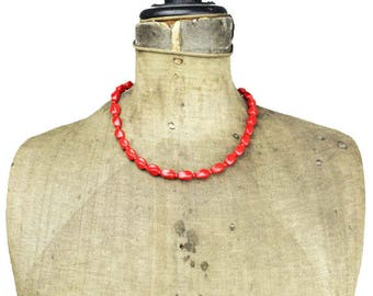 Vintage Red Glass Bead Necklace, Red Bead Necklace, Vintage Red Necklace