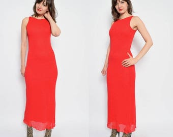 Vintage 90's Red Maxi Knit Dress - Size Small