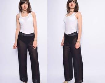 Vintage 90's Black Sheer Pants /  See Thru Black Pants
