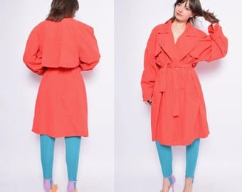 Vintage 80's Red Button Coat / Red belted Long Coat - Size Large
