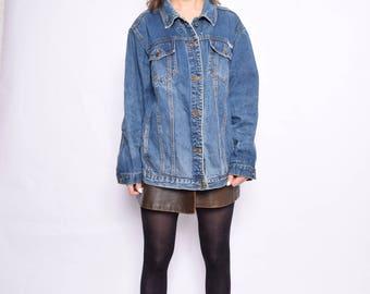 Vintage 90's Blue Denim Jacket / Grunge Denim Jacket / Trucker's Classic Denim Jacket - Size Extra Large