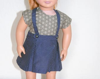 Back to School Suspender Outfit for 18 inch Dolls like American Girl / Geometric Print / Polka Dots / Braces / Pleated Skirt