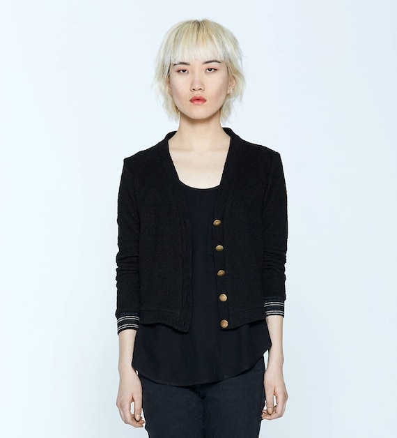 JASPER - long sleeves twillbuttoned cardigan, blazer, vest, cover-up for womens - black