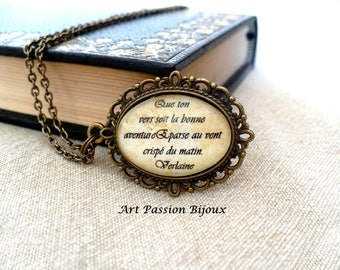 Verlaine poem necklace, italian or french quote pendant, french Literature, poetry jewelry, gift for writer, gift for poet, 15% off ship
