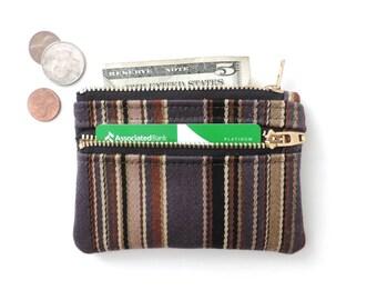 Slim Wallet Pouch Double Zipper Coin Purse Wool Stripe