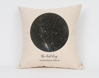 "Custom Constellation Map 16"" Pillow, Under This Sky Print, 2nd Anniversary Gift, Star Print, Engagement Gift, New Baby Gift, Cool Gift Idea"