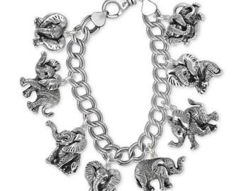Elephant Jewelry Sterling Silver Elephant Bracelet Handmade Wildlife Jewelry EL-XCB