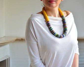 Ethnic necklace, yellow necklace, chunky necklace, bead necklace, boho fashion, bead statement necklace, bohemian necklace, mustard necklace