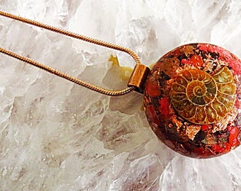 Powerful Orgone Pendant - Red Jasper/Red Garnet/Ammonite - FREE WORLDWIDE SHIPPING!